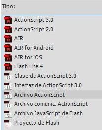 Diálogo para seleccionar el tipo de archivo