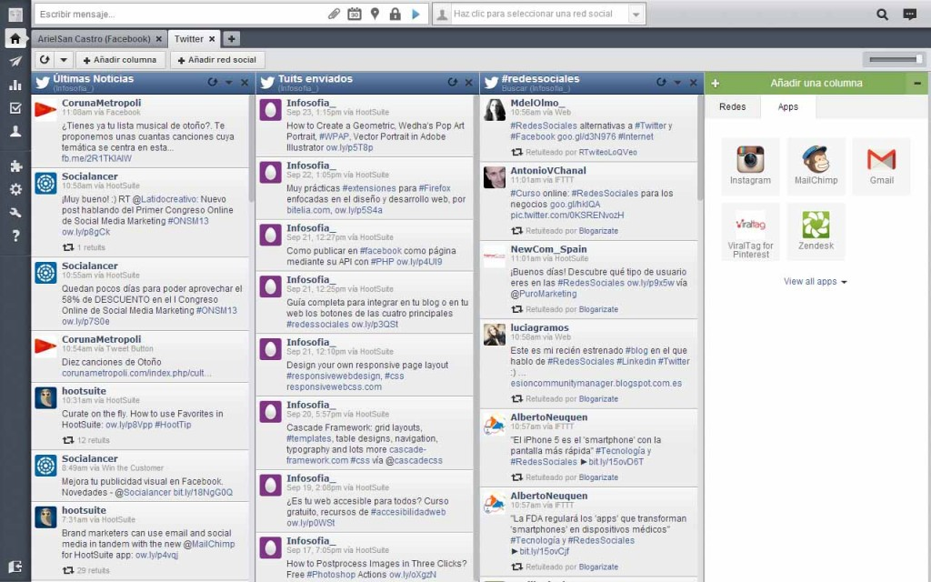 Pestaña de Twitter en HootSuite