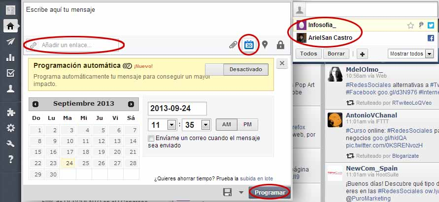 Programar un mensaje en Hootsuite, el calendario.