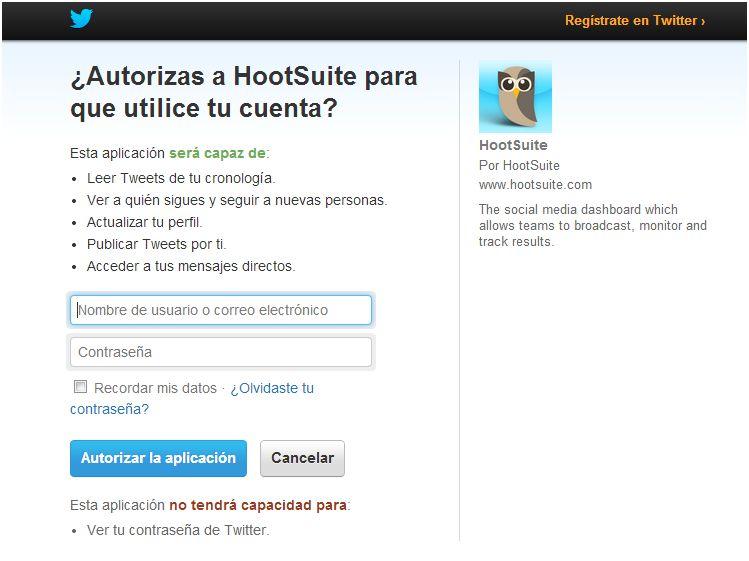 Registrar Twitter en HootSuite