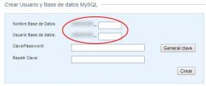 Crear base de datos y usuario, El nombre de la BD y del usuario incluyen el prefijo.