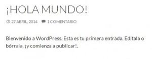Primera entrada de WordPress.