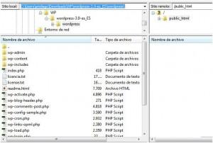 Conectados por FTP al servidor de Tuars mediante FileZilla.