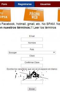 Formulario de registro en Tuars.com